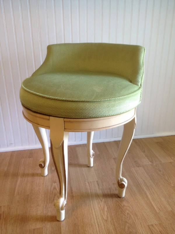 Vintage Hollywood Regency Vanity Chair Stool Green Velvet