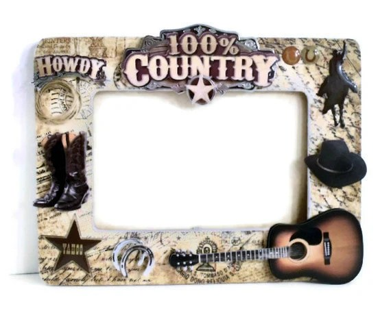 Father's Day Frame - Wooden Picture Frame - Cowboy Country Style Embellishments (Brown / Gold / Taupe / Black) Men Guys - AuriesDesigns