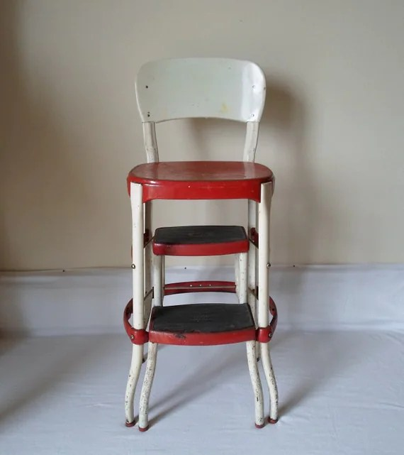Vintage Cosco Chair With Step Stool Red and White Mid Century