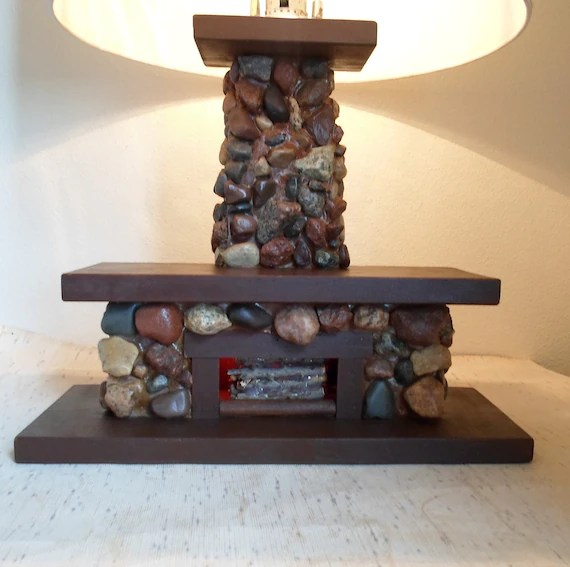 Vintage Rustic Field Stone Fireplace Lamp Great for your