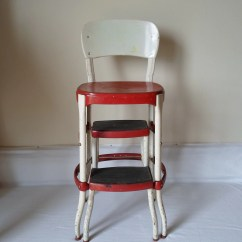 Stool Chair Red Dining Chairs Nz Vintage Cosco With Step And White Mid Century