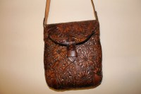 Handmade Leather Satchel/Purse with flower design CARVED