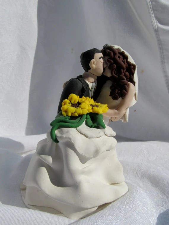 Hand Sculpted Custom Wedding Cake Topper Sunflowers Curly