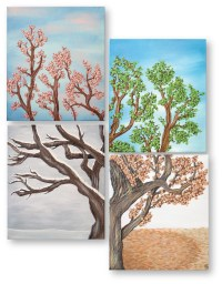 Four Seasons Tree Wall Art Painting Set Four by ...
