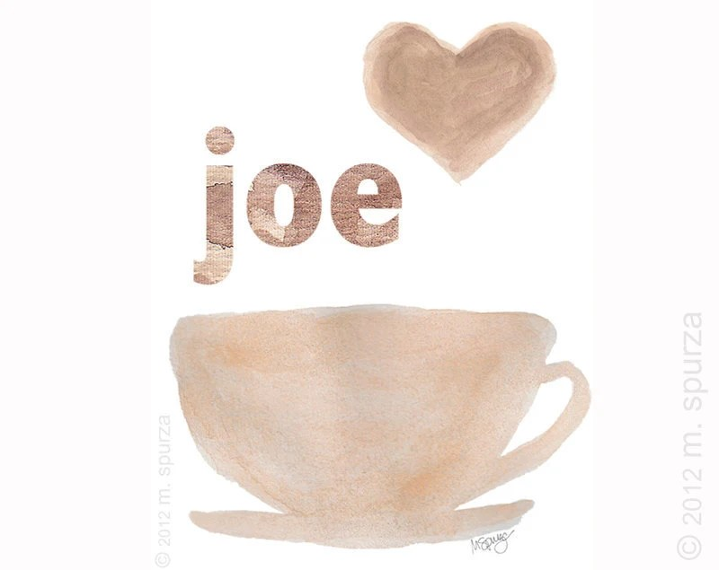 Coffee Art Print  8x10 from Original Watercolor Paintings Kitchen Cafe Cappuccino Caffeine French Country  Cafe Bistro Latte Coffee Brown - OutsideInArtStudio