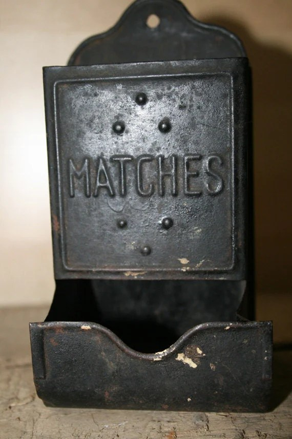 Tin Match Box or Holder Wall Mounted