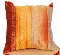 Orange Mustard Rust Pillow Cover Tasseled Pillow Decorative