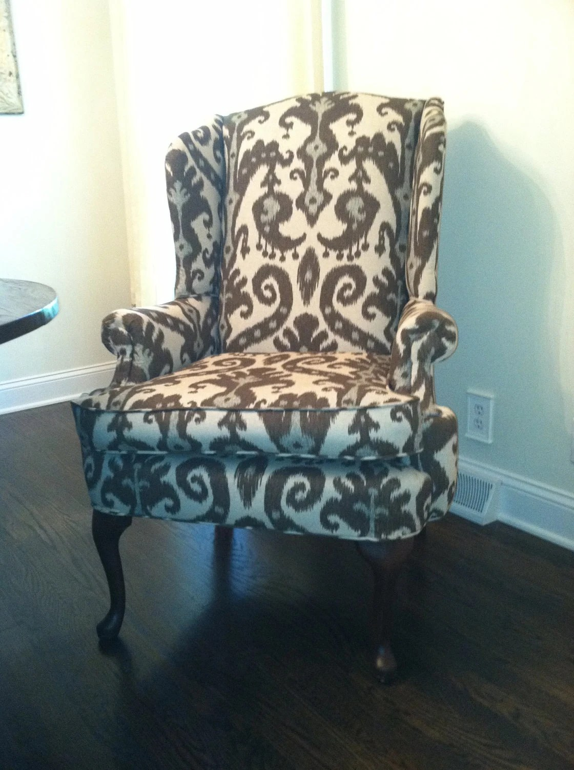 Ikat Print Upholstered Wingback Chair