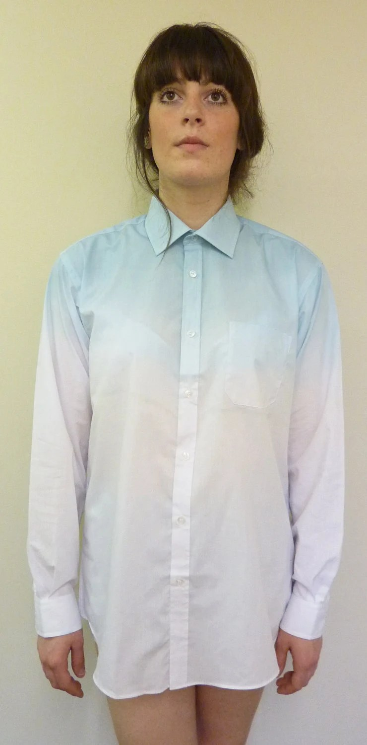 Hand Dip Tie Dyed Blue Ombre Oversized Ladies Summer Boyfriend Shirt Blouse