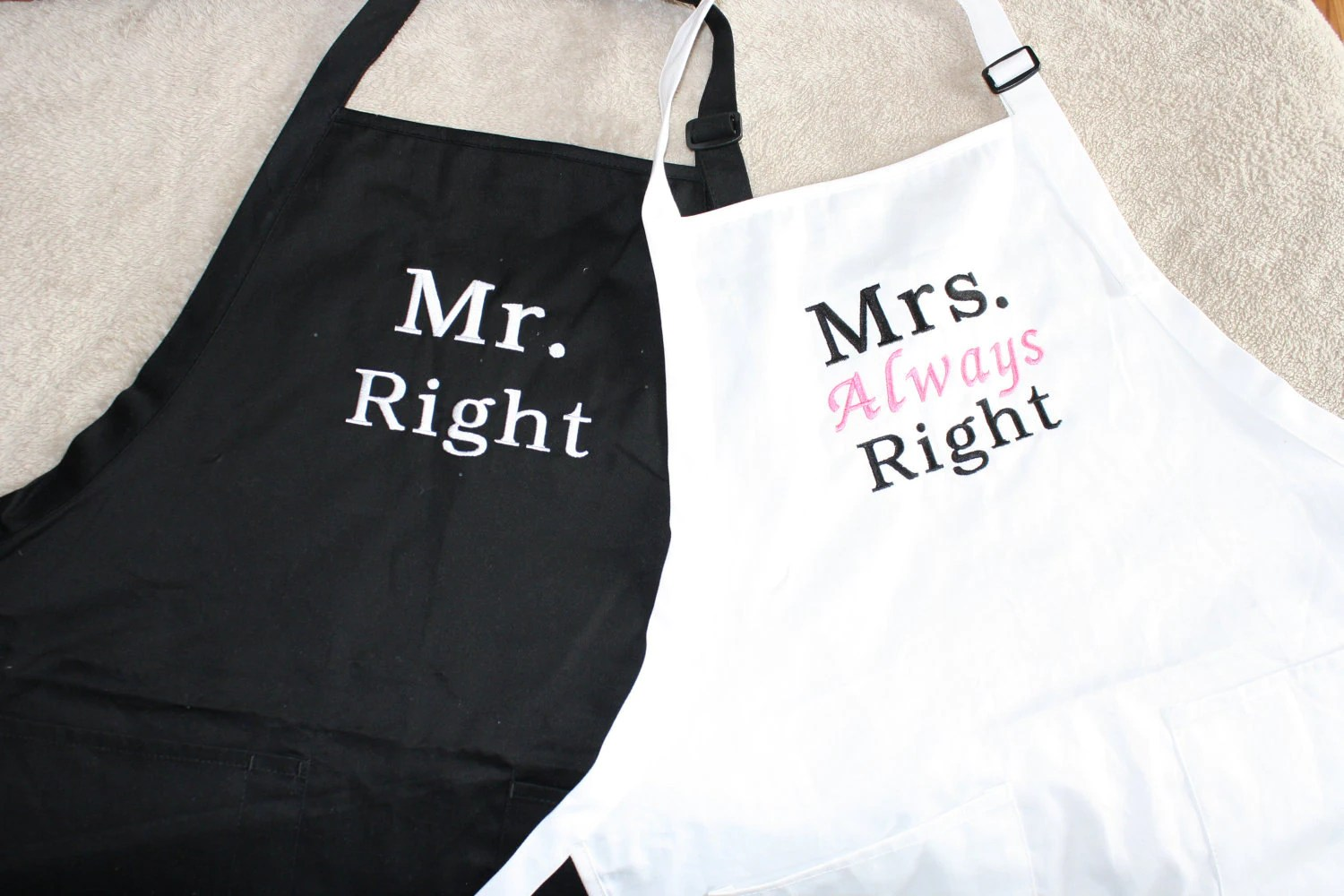 Mr Right and Mrs Always Right apron set