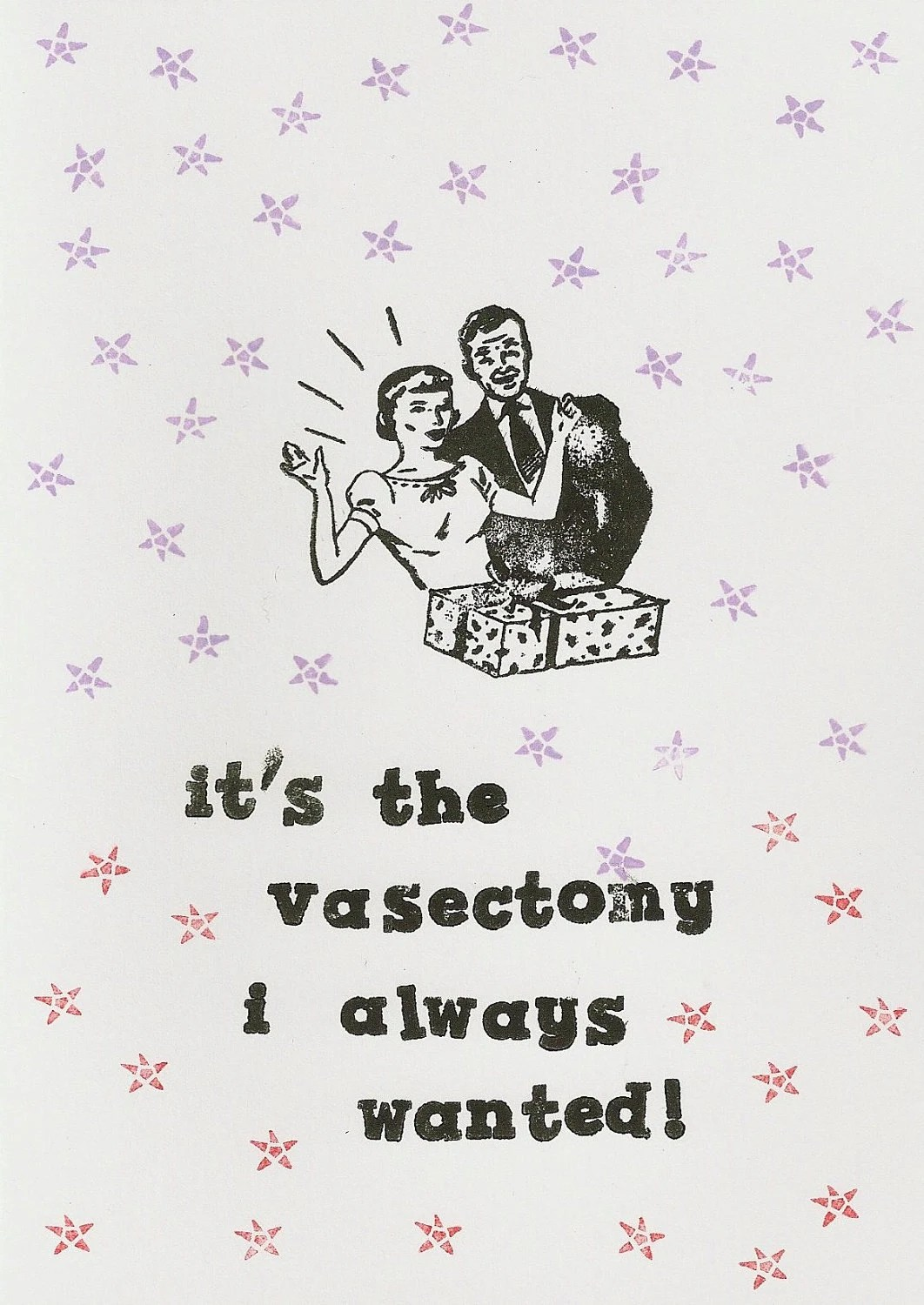 Funny vasectomy handstamped greeting card