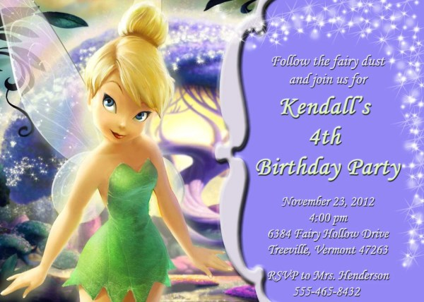 Printable Customized Invitation Tinkerbell Katiepaigedesign