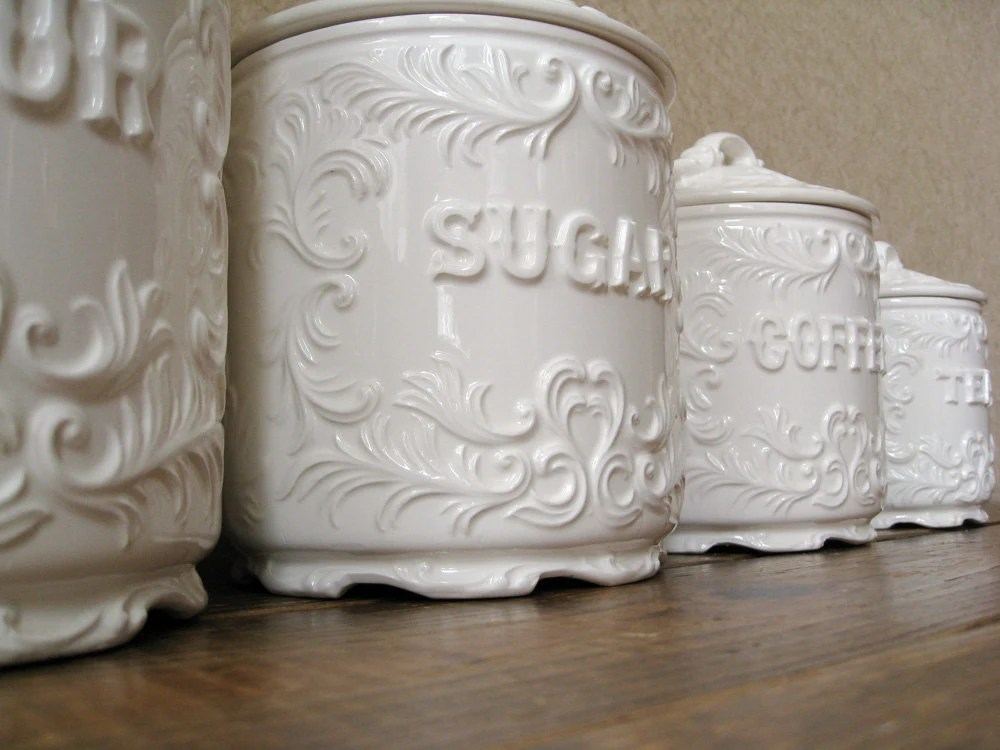 kitchen pottery canisters door knobs vintage canister set antique white with ornate details by ...