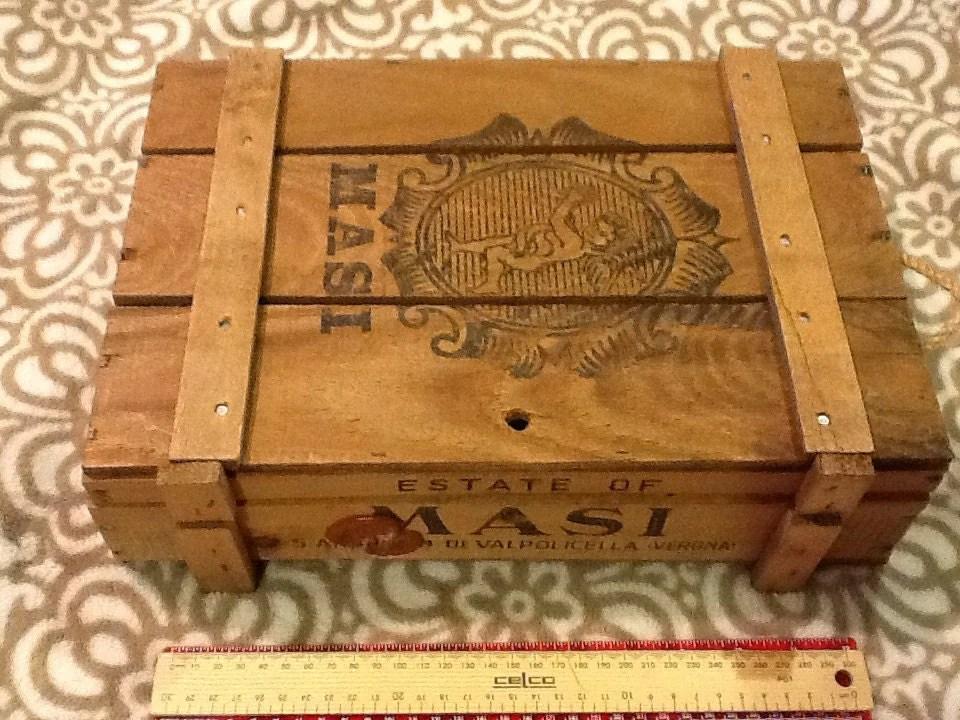 Vintage Wine Box Verona Italy Masi Wooden Crate