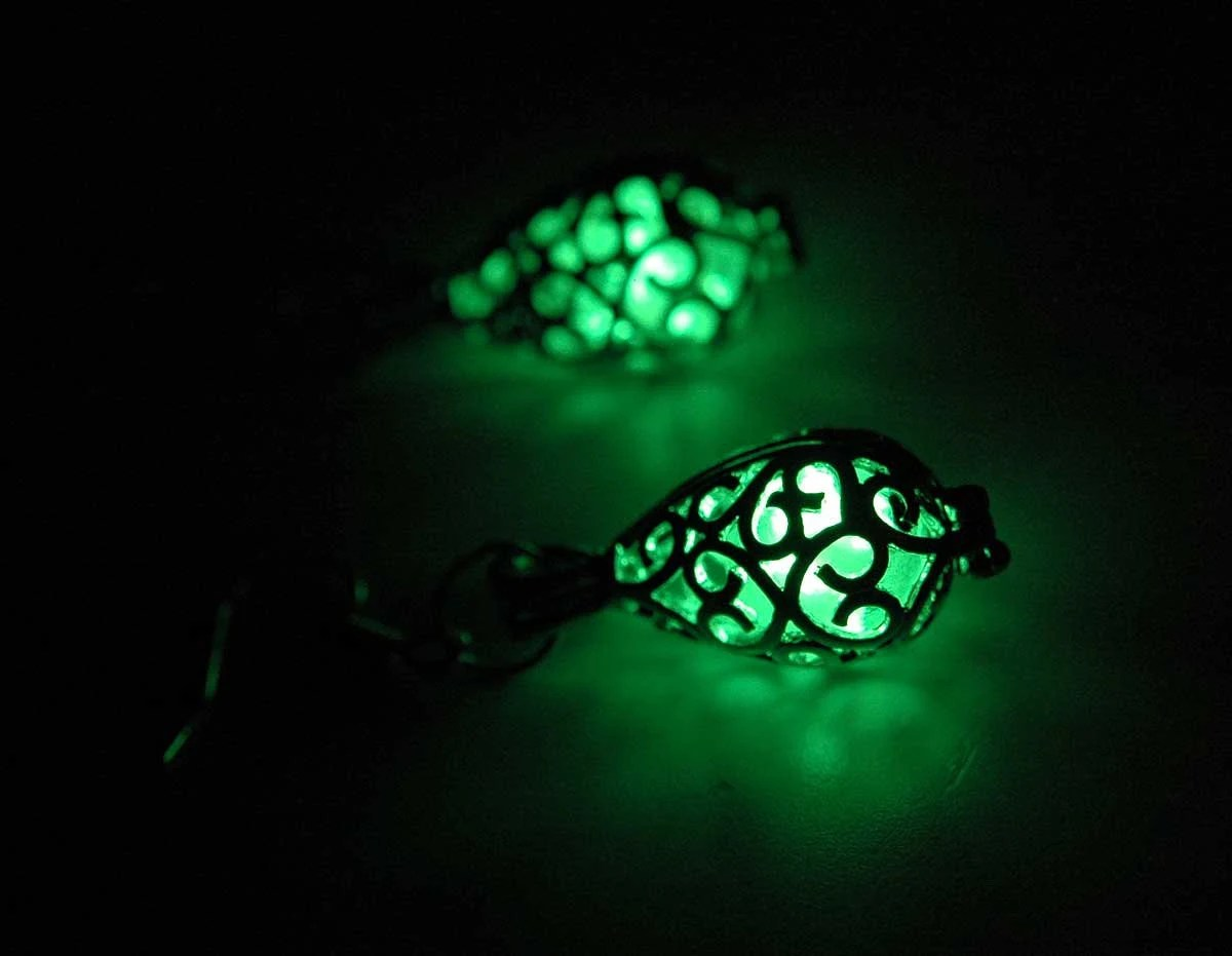 Glow in the dark earrings by SolarFusion on Etsy