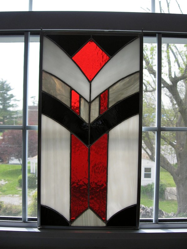 Geometric Stained Glass Panel Black Red Gray And White