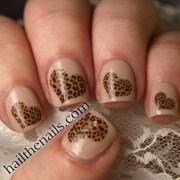 leopard print hearts nail art water