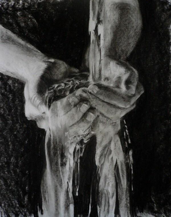Water Hands Charcoal Drawing 18x24 Original