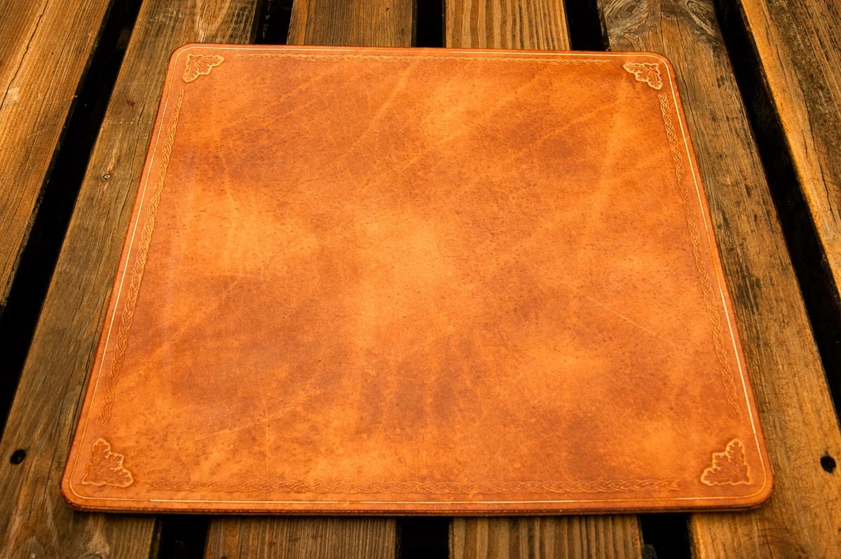 Leather writing mat work mat or desk pad oak leaves