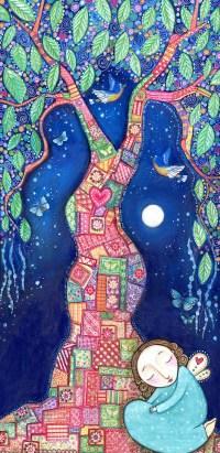 Tree art print patchwork picture design inspirational