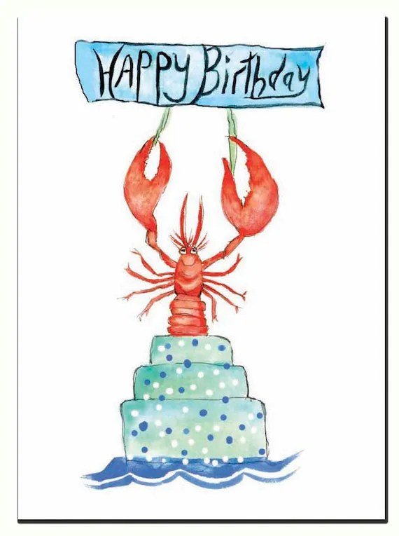 Lobster Birthday Card Red Lobster Watercolor Lobster Single