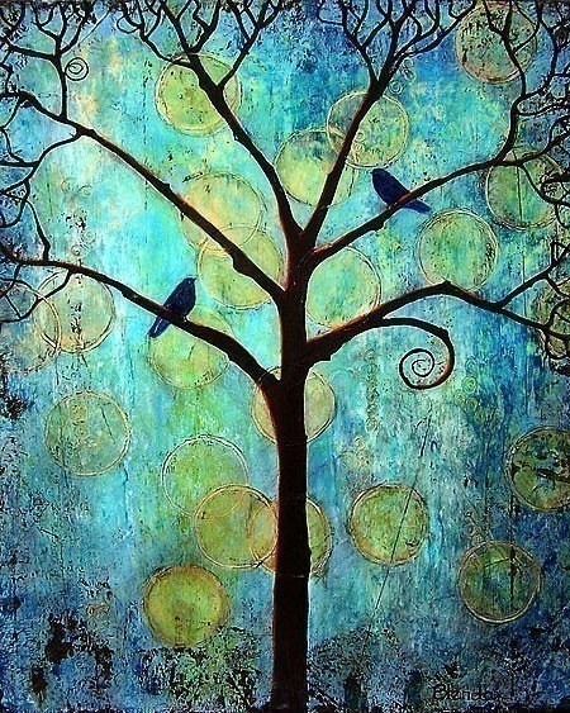 Tree of Life Art Print Twilight Circles Birds Blue 8X10