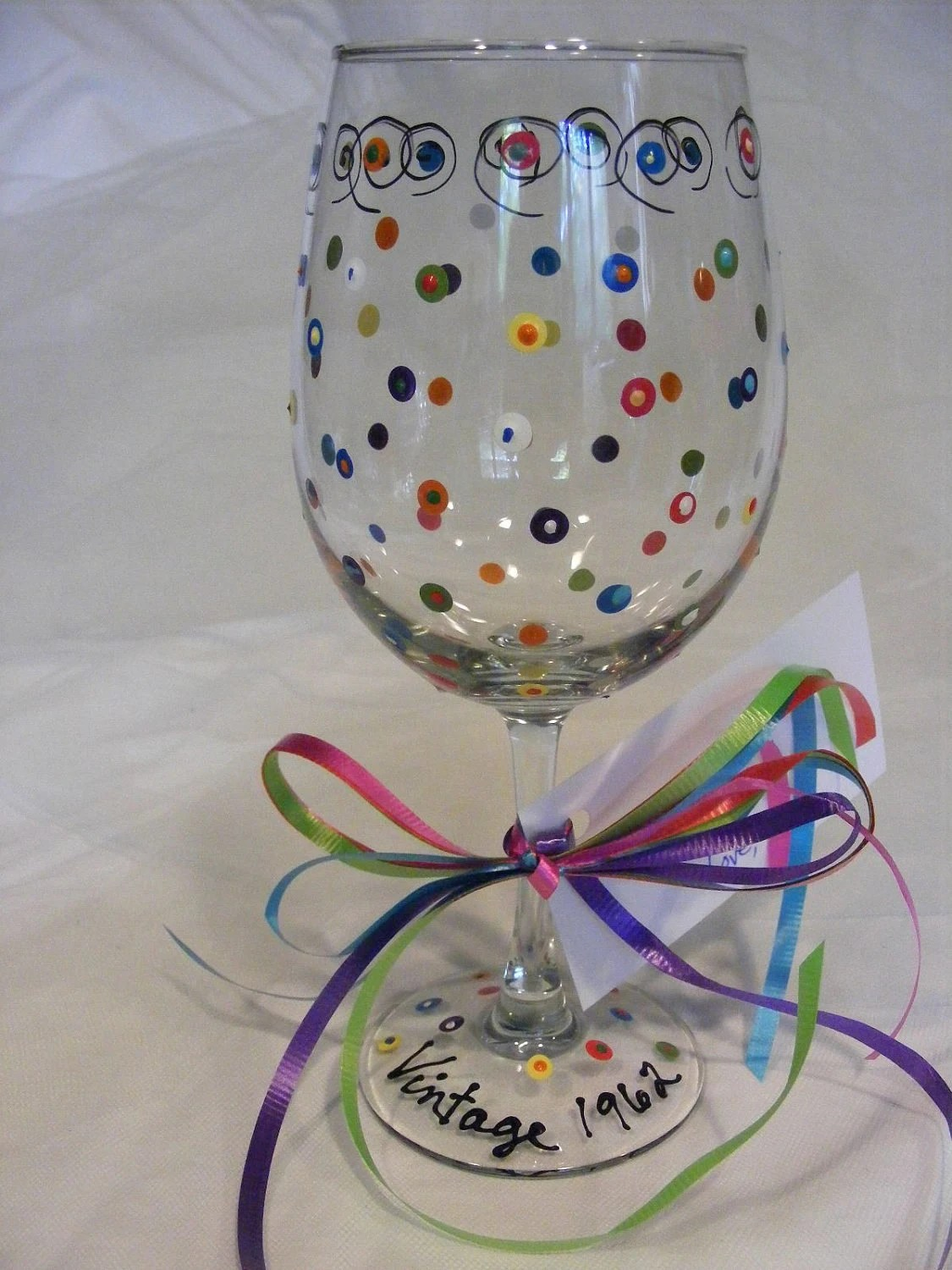 Painted Wine Glass With Swirls And Polka Dots Can Be