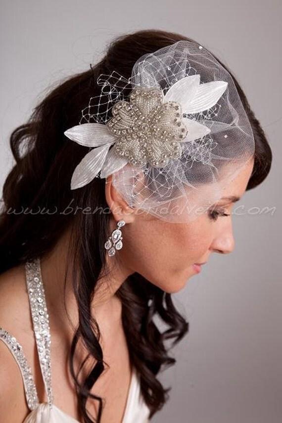 Crystal Rhinestone Beaded Flower Bridal Hair Piece With
