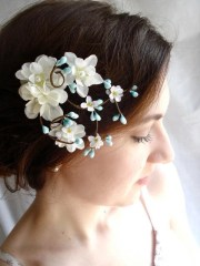 turquoise blue flower hair clip