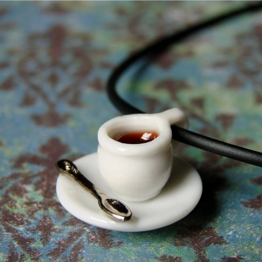 Miniature Coffee Cup Necklace Tiny Little Spot Of Coffee Or