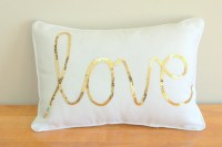 Gold Sequined Love Cushion by MaxandMeHomewares on Etsy