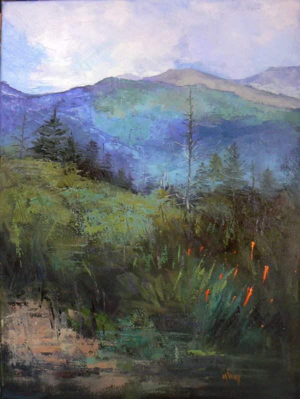 Impressionist Mountain Landscape Original Oil Painting 18x24