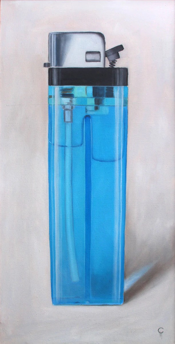 Contemporary Big Blue Bic Lighter Fire Flame Smoking Large