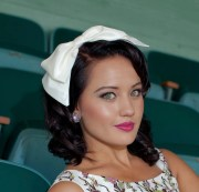 big bow headband in ivory taffeta