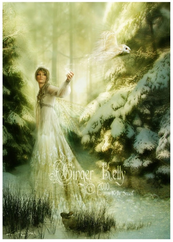 Magic Winter Fairy Owl Snow Landscape Gingerkellystudio