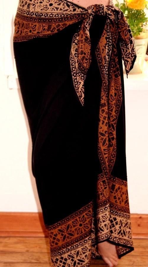 Solid Black Tahitian Inspired Beach Wrap Skirt HandDyed Batik
