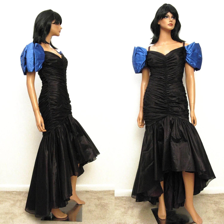 80s Mermaid Prom Dress Vintage 1980s Long Black Chiffon Blue