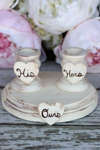 Wedding Unity Candle Holder Set Shabby Chic Decor NBB10001
