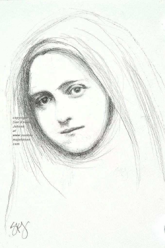 Saint Therese of Lisieux Fine Art Print of Pencil Sketch
