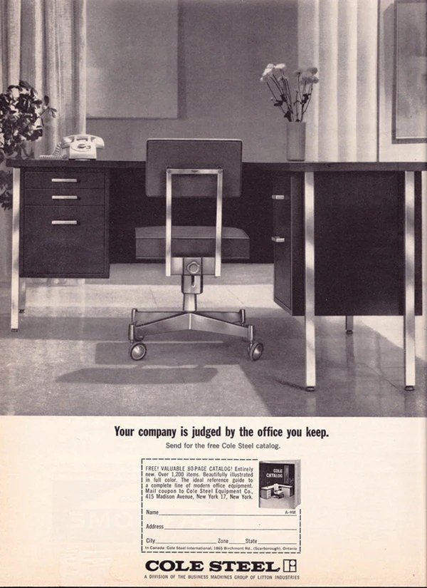Vintage ad Cole Steel office furniture early 1960s modern desk