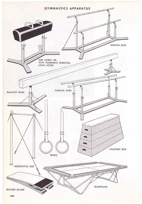Gymnastics Apparatus vintage encyclopedia illustration page