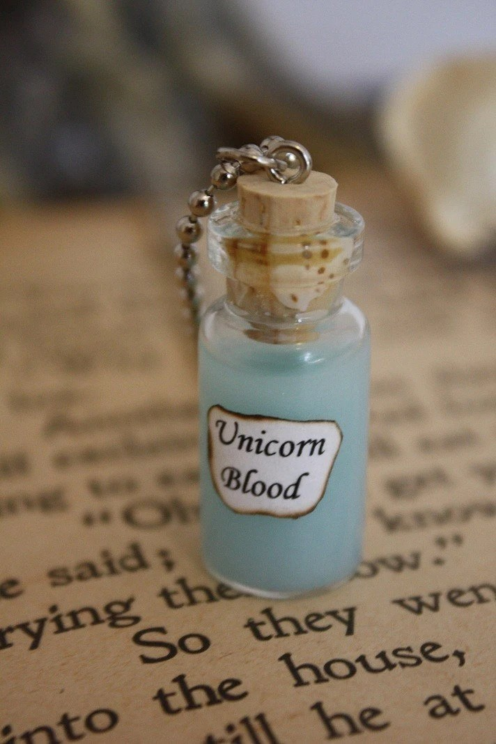 Unicorn Blood Vial Necklace Unicorn Necklace Halloween