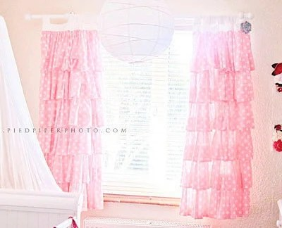 Pink Ruffle Curtain Etsy