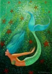 blue hair mermaid fantasy art starfish