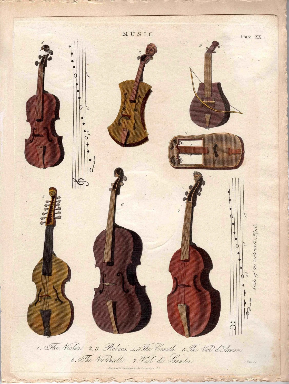 Musical Instruments Original Antique By Antiqueprintstore