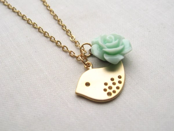 Youth Necklace Gold Bird Charm Mint Green Flower