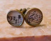 Music Cuff Links -- Handmade from 1941 Vintage Sheet Music -- Gift Boxed, Round, Treble & Bass Clefs, Music Notes, Sharps, Flats, Bronze - AmySueCrafts