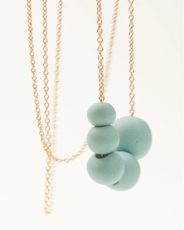 Porcelain Long Necklace Turquoise Beads and 14 ct by