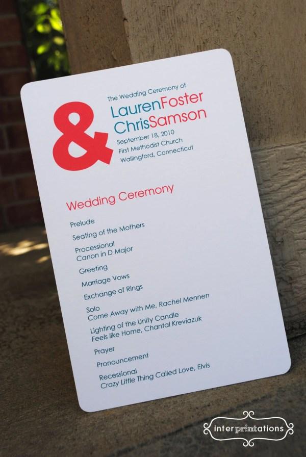 Wedding Programs Ceremonies Receptions Vistaprint - Year of
