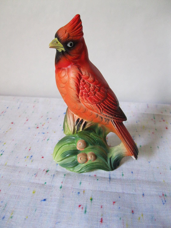 kitchen utensil caddy island size vintage cardinal bird figurine chalkware chalk ware